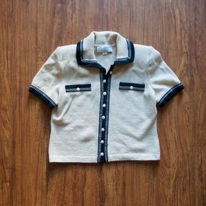 St. John Button Up Collared Short Sleeve Sweater